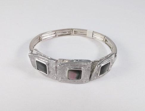 Bracelet Spoutnik élastique, 3 carrés avec centre de nacre, argent