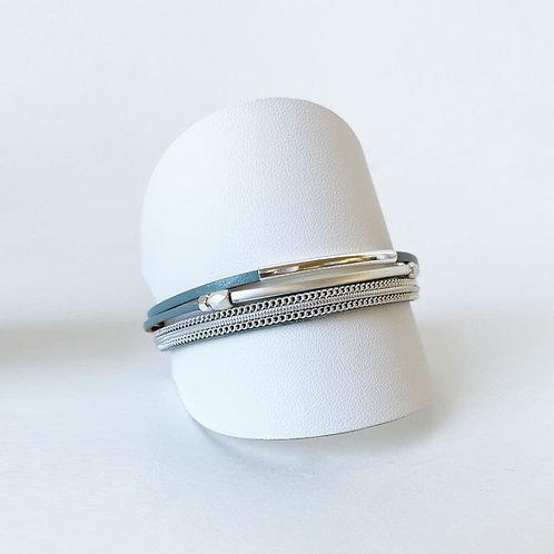 Bracelet Caracol, Cuir véritable, Tube, Turquoise, 3171-TRQ