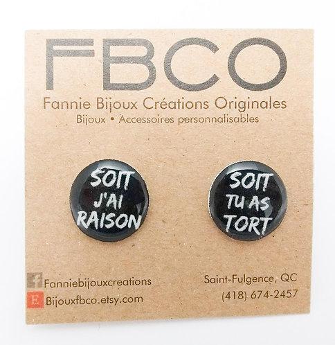 Boucles d'oreille FBCO ''Message: Soit j'ai raison, soit tu as tort''