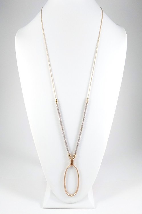 Collier long ajustable Caracol, billes grises, Or, 1423-GRY