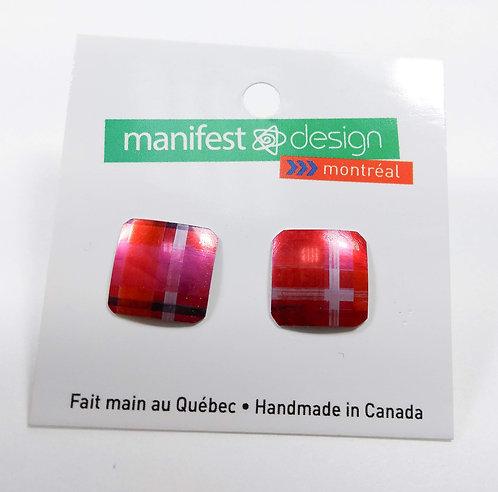 Boucles d'oreille Manifest Design: Fixe carré, rose-rouge