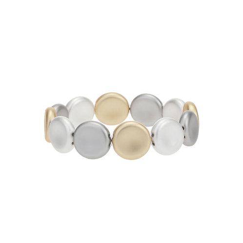 Bracelet élastique Caracol, Pastilles, Argent et Or, 3147-MXG