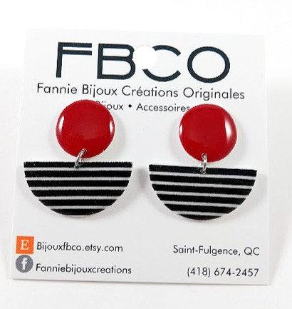 Boucles d'oreille FBCO, Rouge, noir et blanc ligné