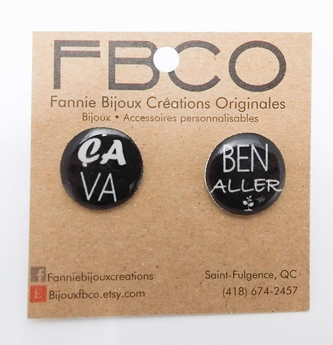 Boucles d'oreille FBCO ''Message: Ça va ben aller''