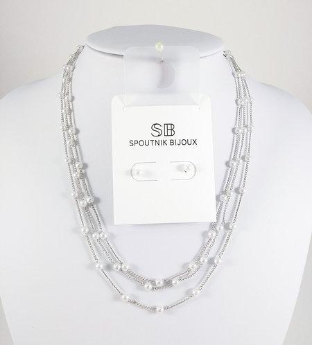 Ensemble collier et boucles d'oreille Spoutnik, Multi-rang chaîne et perle
