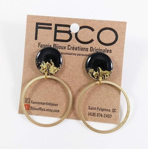 Boucles d'oreille FBCO ''Kimmy'' Noir et laiton
