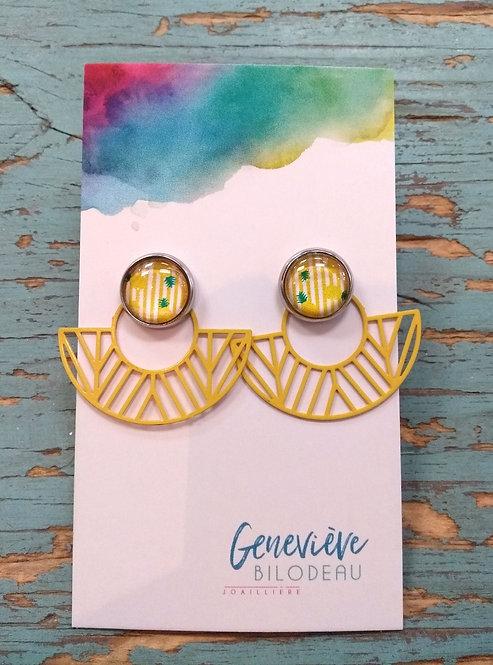 Boucles d'oreille GB Joaillière, 2 en 1, Éventail jaune géométrique