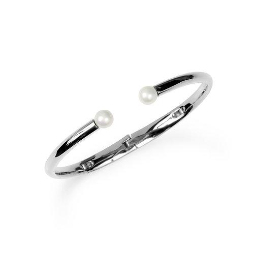 Bracelet Mia, 2 perles, Acier inoxydable, Argent