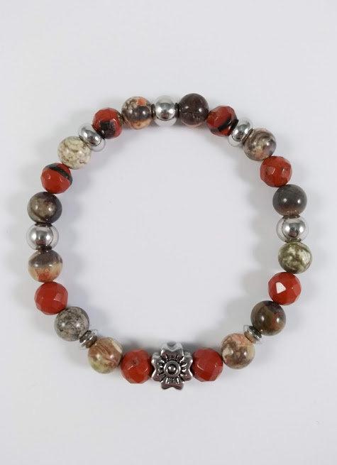 Bracelet #26 Jaspe brun et Agate feuille argenté