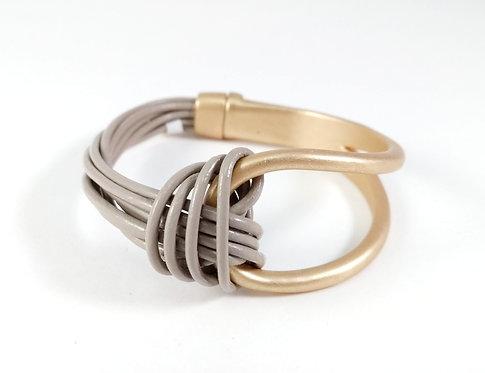 Bracelet Caracol, Cordons de cuir taupe, Métal or mat