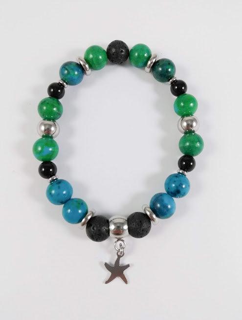 Bracelet #39 Azurite Chrysocolle et pierre volcanique