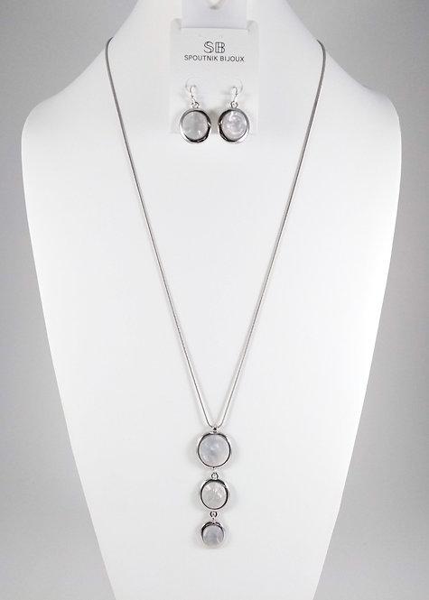 Ensemble collier long et boucles d'oreille Spoutnik, 3 cercles blanc
