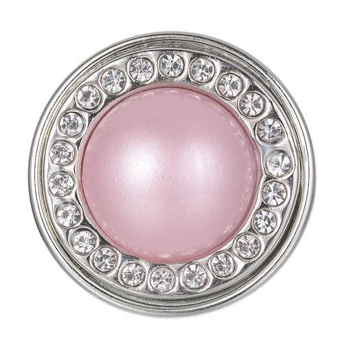 Bouton pression (snap) Nomaad Interchangeable, Perle rose pâle contour cristaux