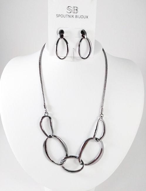Ensemble collier et boucles d'oreille Spoutnik, Grosse anneau argent hématite