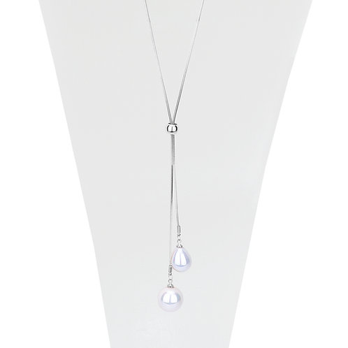 Collier long ajustable Caracol, Perle blanche, Argent, 1172-SLV