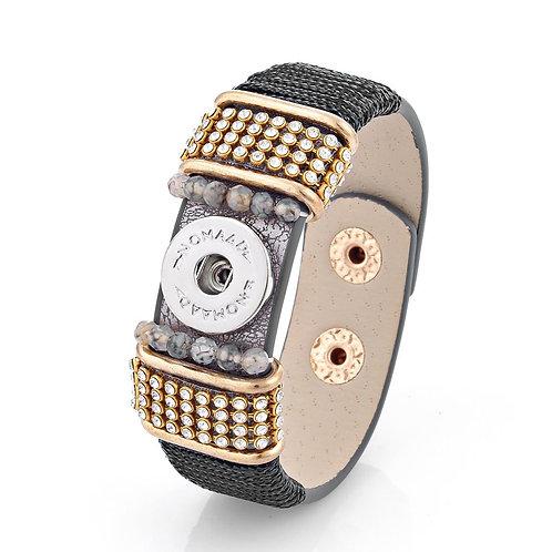 Bracelet cuir noir et or, Nomaad Interchangeable, ajustable