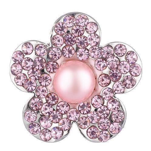 Bouton pression (snap) Nomaad Interchangeable, Fleur rose perle et cristaux