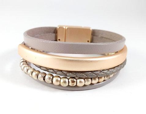Bracelet Caracol, Bandes de cuir beige, Métal or mat