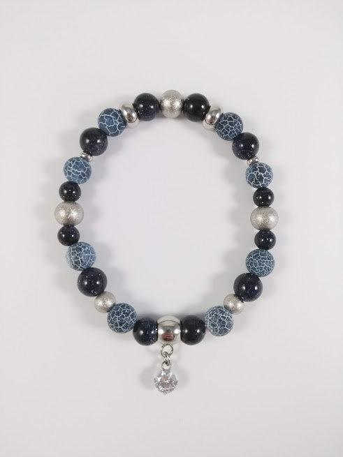 Bracelet #7 Agate de feu bleu nuit et Goldstone