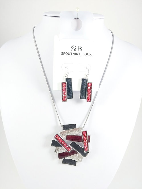 Ensemble collier et boucles d'oreille Spoutnik, Rectangles noirs et rouges