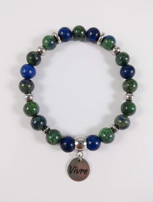 Bracelet #40 Lapis lazuli et Magnésite teinte