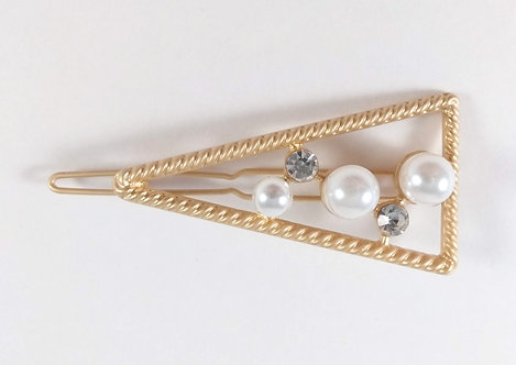 Barrette: Triangle or, perles blanches et cristaux