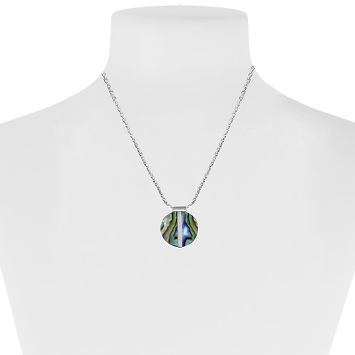 Collier court Caracol, Abalone, Argent, 1407-MIX-S
