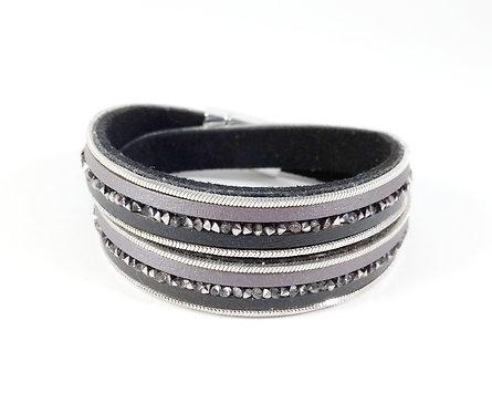 Bracelet Caracol, Bandes de cuirette, chaîne et cristaux, 2 tours, noir et gris