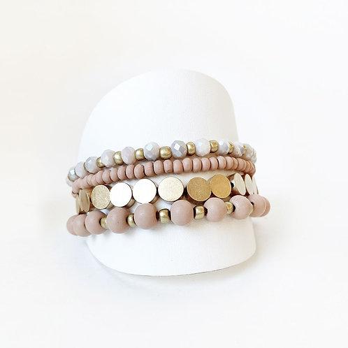 Ensemble de 4 bracelets élastiques Caracol, billes, Rose et or, 3186-PNK