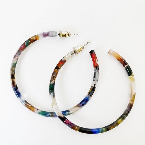 Boucles d'oreille Caracol, Anneau résine colorée, 2437-MXB