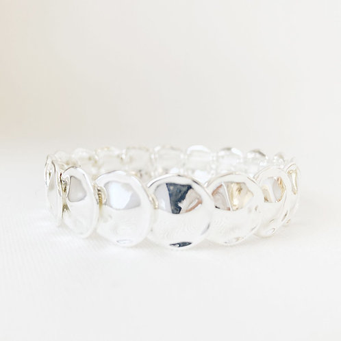 Bracelet élastique Caracol, Pastilles métalliques, Argent, 3146-SLV