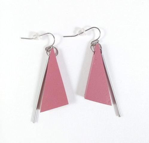 Boucles d'oreille Caracol, Triangle bois rose