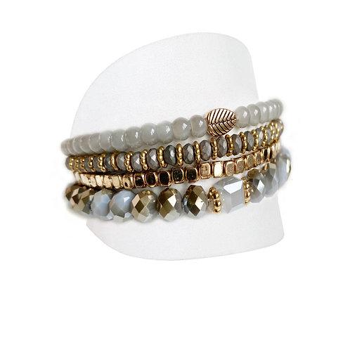 Ensemble de 4 bracelets Caracol, billes grises, 3124-GRY