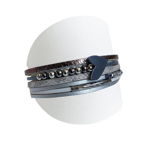 Bracelet Caracol, Cuir et coeur, Gris, 3148-GRY