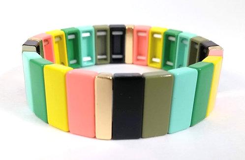 Bracelet élastique Spoutnik, Rectangle multicolore