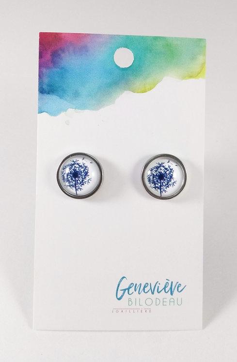 Boucles d'oreille GB Joaillière, 12mm, Pissenlit, Bleu marin