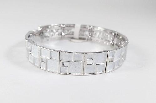 Bracelet Spoutnik élastique, Carré blanc et argent