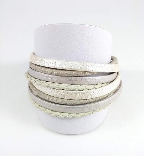 Bracelet Caracol, Blanc, gris, Argent