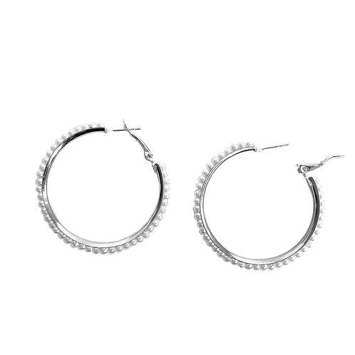 Boucles d'oreille Caracol, Anneau métallique avec perles, Argent, 2403-SLV