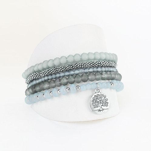 Ensemble de 5 bracelets élastiques Caracol, billes, Gris, 3116-GRY