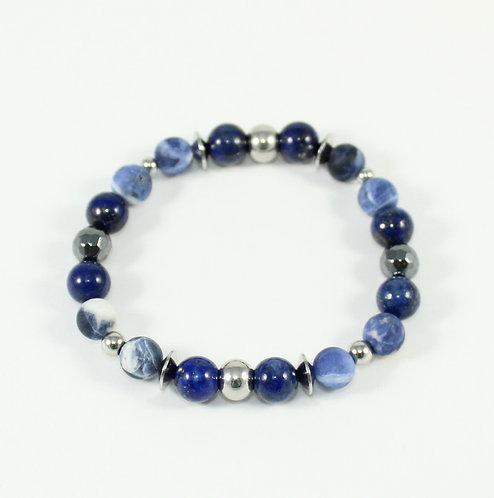 Bracelet #47 Lapis lazuli, Sodalite et Hématite