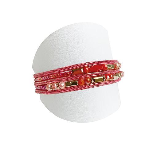 Bracelet Caracol, multi-chaîne et bille, Corail #3311-COR