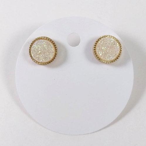 Boucles d'oreille Spounik: Cercle or, effet pierre crème brillante
