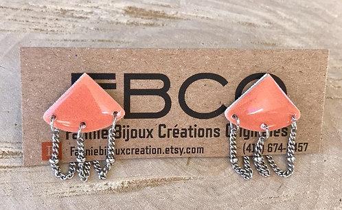 Boucles d'oreille FBCO ''Kalessie'' Corail et chaînettes