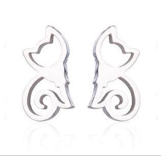 Boucles d'oreille acier inoxydable ''Chat queue spirale''