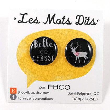 Boucles d'oreille FBCO ''Message: Belle de chasse''