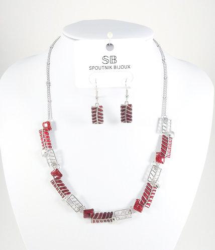 Ensemble collier et boucles d'oreille Spoutnik, Rectangle rouge et argent
