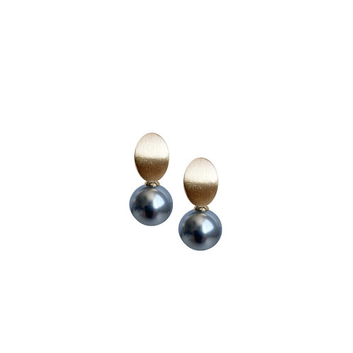 Boucles d'oreille Caracol, Perle grise, Or, 2411-GRY-G