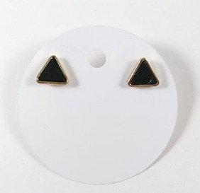 Boucles d'oreille Spounik: Petit triangle noir effet marbre, or