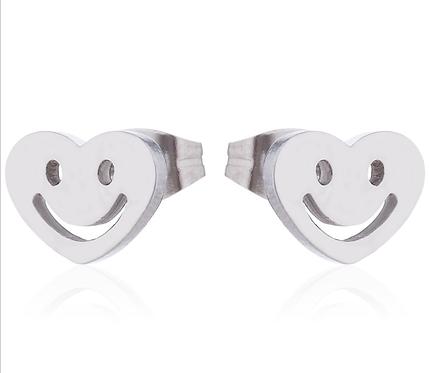 Boucles d'oreille acier inoxydable ''Coeur avec sourire, argent''